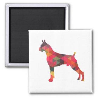 Boxer Dog Watercolor Geometric Pattern Silhouette Magnet