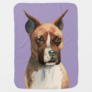 Boxer Dog Watercolor Painting Baby Blanket