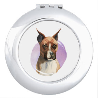 Boxer Dog Watercolor Painting Compact Mirrors