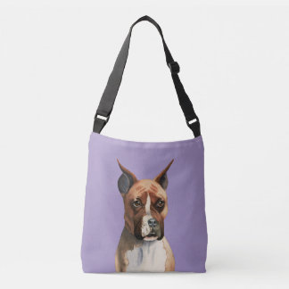 Boxer Dog Watercolor Painting Crossbody Bag