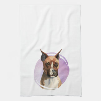 Boxer Dog Watercolor Painting Kitchen Towel