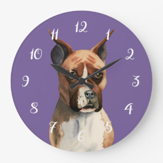 Boxer Dog Watercolor Painting Large Clock