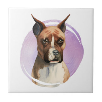 Boxer Dog Watercolor Painting Tile
