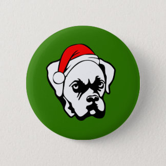 Boxer Dog with Christmas Santa Hat 2 Inch Round Button