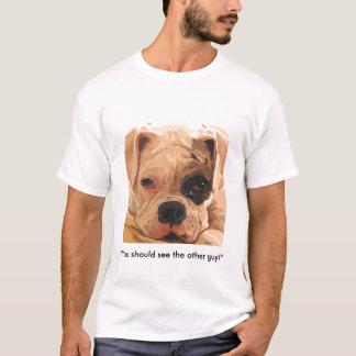 Boxer Dog with one black eye T-Shirt