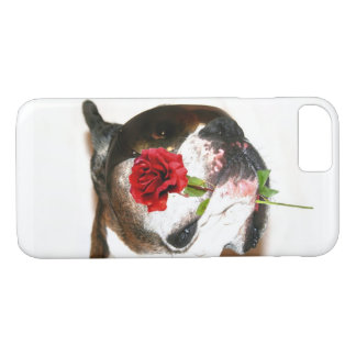 Boxer dog with rose iPhone 8 case