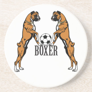 boxer dog with soccer ball beverage coaster