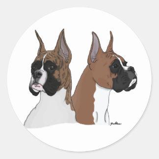 Boxer dogs classic round sticker