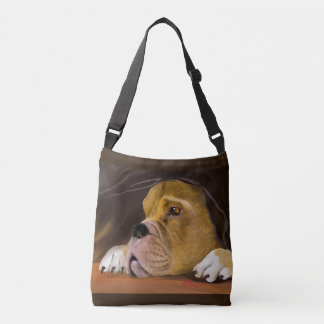 Boxer Face Peering Out Crossbody Bag