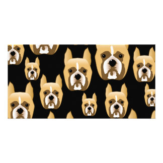 Boxer Faces Dog Pattern on Black Photo Cards