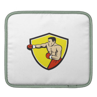 Boxer Jabbing Punching Crest Cartoon iPad Sleeves