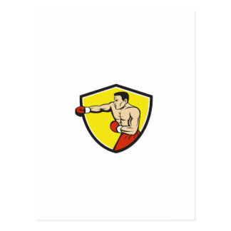 Boxer Jabbing Punching Crest Cartoon Postcard