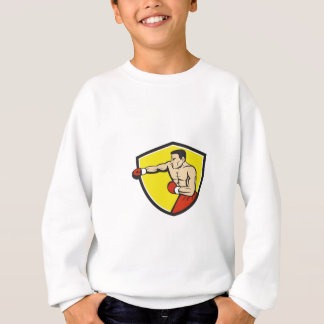 Boxer Jabbing Punching Crest Cartoon Sweatshirt
