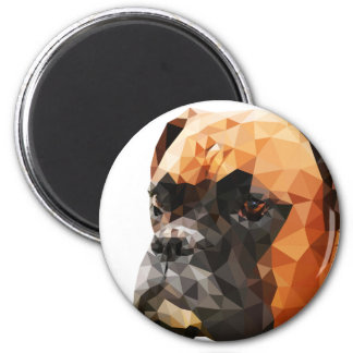 Boxer Low Poly Art 2 Inch Round Magnet