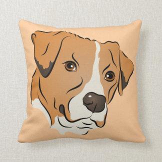 Boxer Mix Graphic Dog Portrait Throw Pillow