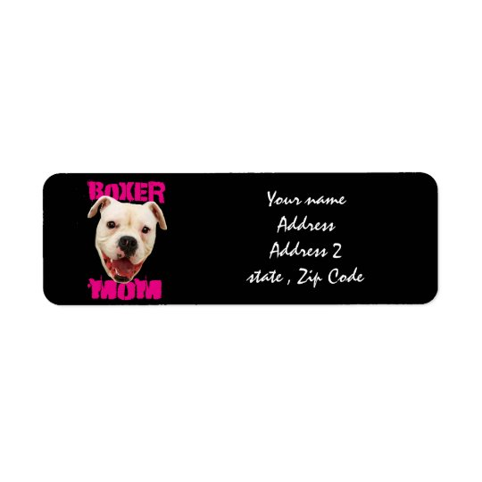 Boxer Mom dog Return Address Label