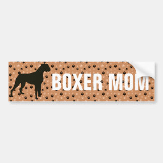 Boxer Mom dog silhouette paw prints Bumper Sticker