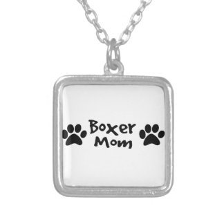 boxer mom silver plated necklace