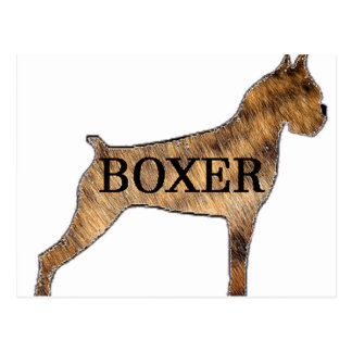 boxer name silhouette brindle fur postcard