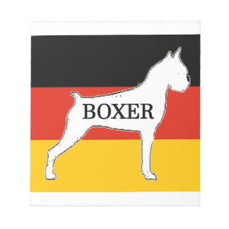 boxer name silo on flag white notepad