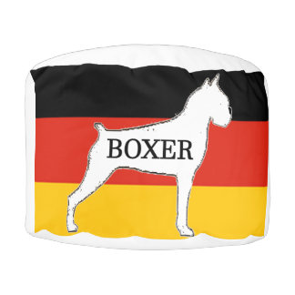 boxer name silo on flag white pouf