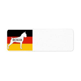 boxer name silo on flag white return address label