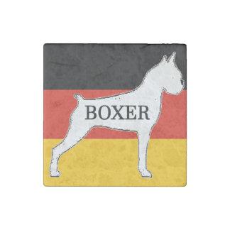 boxer name silo on flag white stone magnets