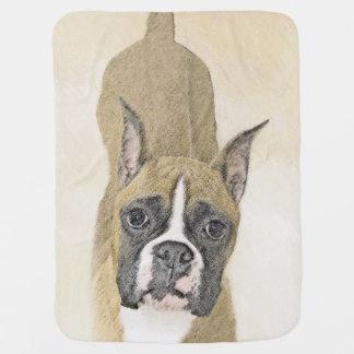 Boxer Painting - Cute Original Dog Art Baby Blanket