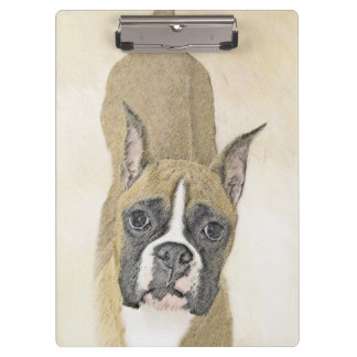 Boxer Painting - Cute Original Dog Art Clipboard
