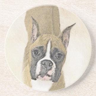 Boxer Painting - Cute Original Dog Art Coaster