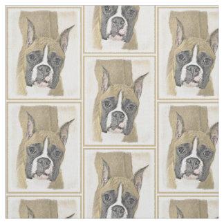 Boxer Painting - Cute Original Dog Art Fabric