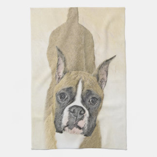 Boxer Painting - Cute Original Dog Art Kitchen Towel