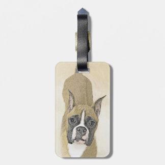 Boxer Painting - Cute Original Dog Art Luggage Tag