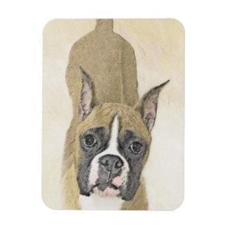 Boxer Painting - Cute Original Dog Art Magnet