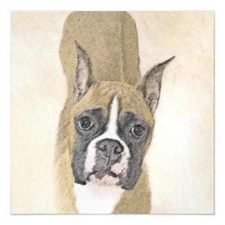 Boxer Painting - Cute Original Dog Art Magnetic Card