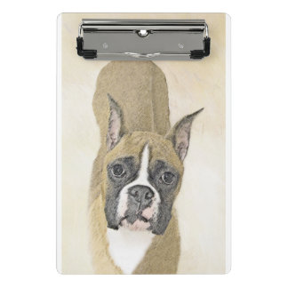 Boxer Painting - Cute Original Dog Art Mini Clipboard