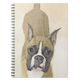 Boxer Painting - Cute Original Dog Art Notebook