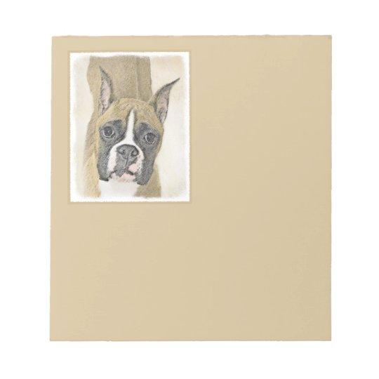 Boxer Painting - Cute Original Dog Art Notepad