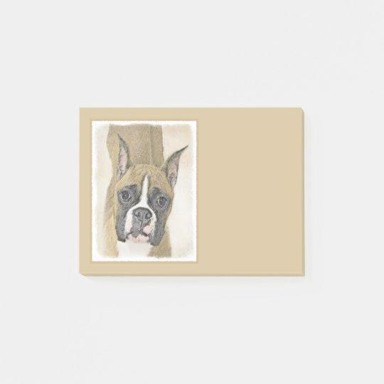 Boxer Painting - Cute Original Dog Art Post-it Notes