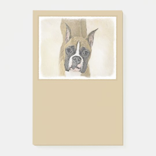 Boxer Painting - Cute Original Dog Art Post-it Notes