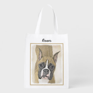 Boxer Painting - Cute Original Dog Art Reusable Grocery Bag
