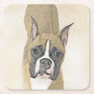 Boxer Painting - Cute Original Dog Art Square Paper Coaster