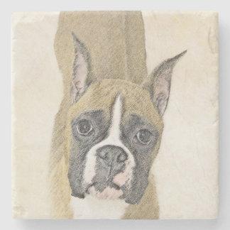 Boxer Painting - Cute Original Dog Art Stone Coaster