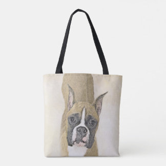 Boxer Painting - Cute Original Dog Art Tote Bag