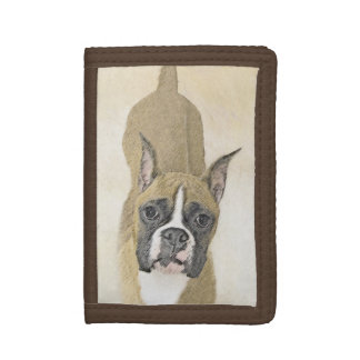 Boxer Painting - Cute Original Dog Art Tri-fold Wallet