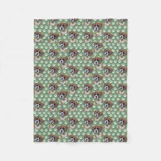 Boxer Paw Print Fleece Blanket