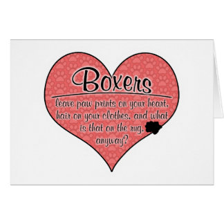 Boxer Paw Prints Dog Humor Card