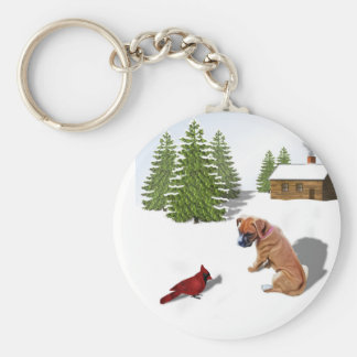 Boxer Pup and Cardinal Basic Round Button Keychain