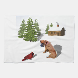 Boxer Pup and Cardinal Kitchen Towel