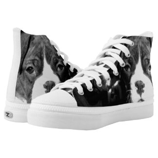 Boxer puppies high top tennis shoes
